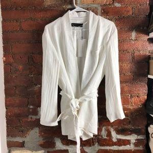 Zara Textured White Blazer with Tie S